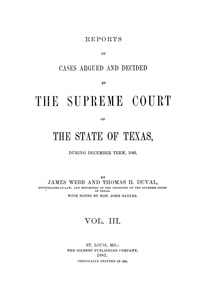Reports of cases argued and decided in the Supreme Court of the State of Texas during December term, 1848. Volume 3.                                                                                                      Title Page