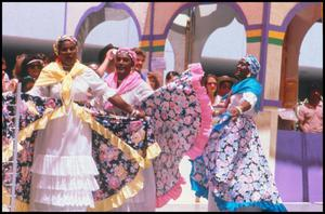 Primary view of object titled '[Dancers from Trinidad and Tobago Cultural Association Performing]'.