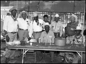 Primary view of object titled '[Tommy Tijerina with Retired Refugio County Cowboys]'.