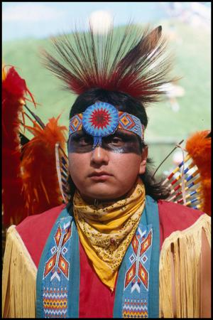 [American Indian Man in Traditional Clothing]