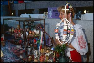 Primary view of object titled '[Susie Tolman at the Czech Egg Decorating Booth]'.