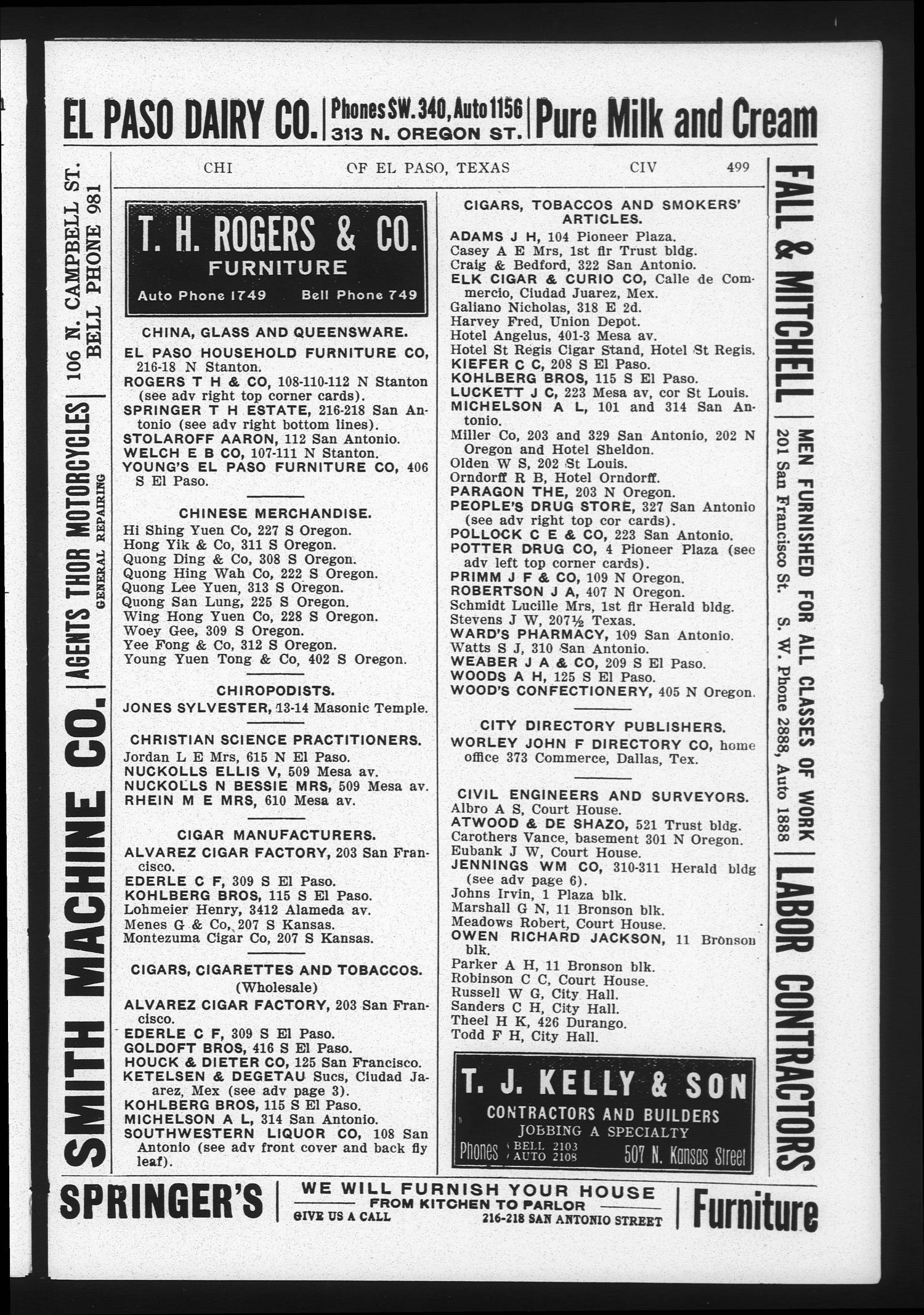 Worley s Directory of El Paso Texas 1910 Page 498 The Portal