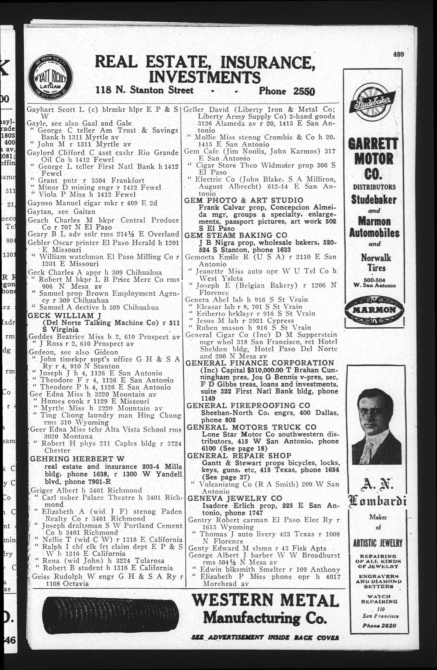 El Paso City Directory 1921 Page 499 The Portal to Texas History