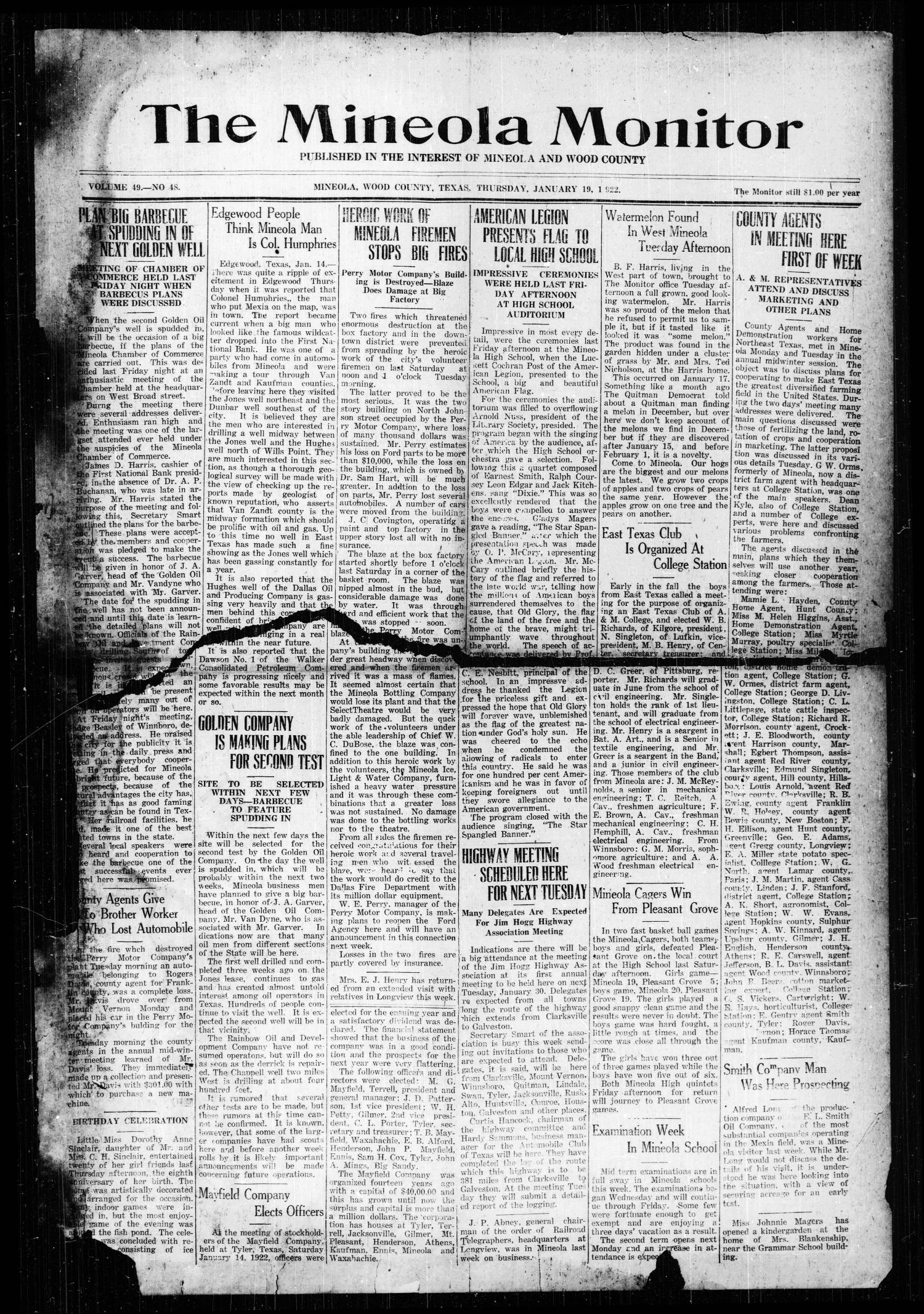 The Mineola Monitor (Mineola, Tex.), Vol. 49, No. 48, Ed. 1 Thursday, January 19, 1922                                                                                                      [Sequence #]: 1 of 6