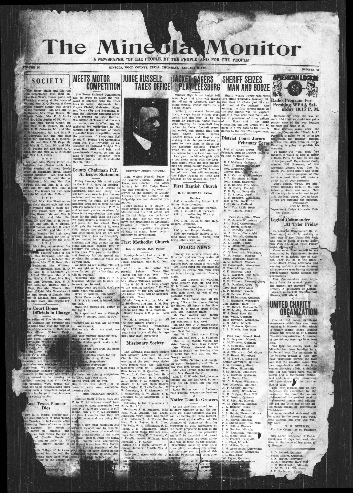 The Mineola Monitor (Mineola, Tex.), Vol. 55, No. 43, Ed. 1 Thursday, January 8, 1931                                                                                                      [Sequence #]: 1 of 8