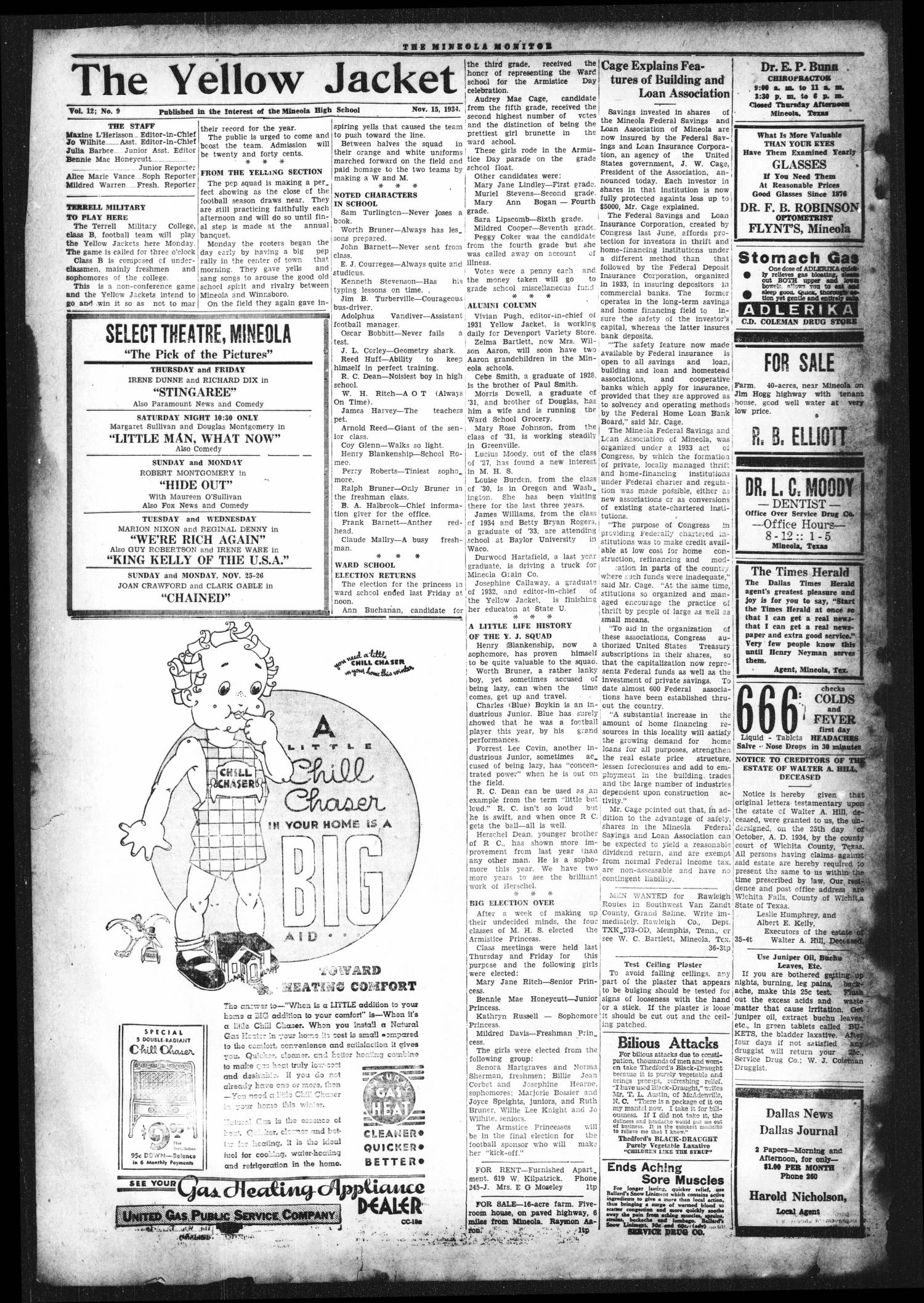 The Mineola Monitor (Mineola, Tex.), Vol. 59, No. 36, Ed. 1 Thursday, November 15, 1934                                                                                                      [Sequence #]: 2 of 7