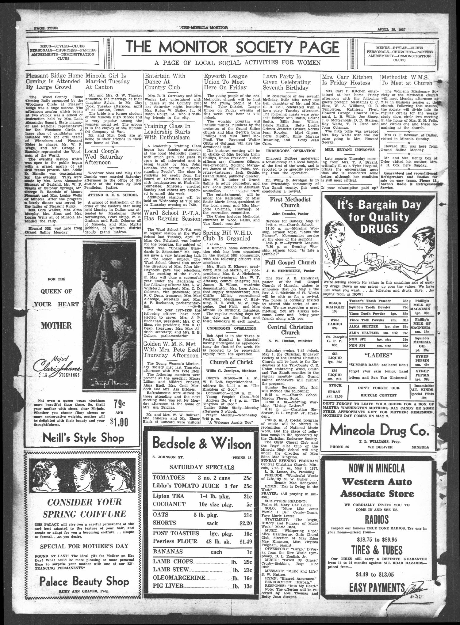 The Mineola Monitor (Mineola, Tex.), Vol. 61, No. 5, Ed. 1 Thursday, April 29, 1937                                                                                                      [Sequence #]: 4 of 8