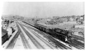 "Primary view of object titled '[""The Firefly"" entering Kansas City]'."