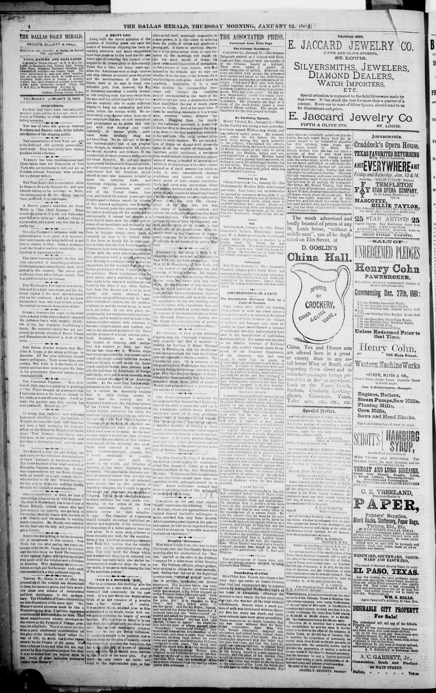 The Dallas Daily Herald. (Dallas, Tex.), Vol. 29, No. 38, Ed. 1 Thursday, January 12, 1882                                                                                                      [Sequence #]: 4 of 8