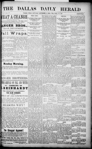 Primary view of object titled 'The Dallas Daily Herald. (Dallas, Tex.), Vol. 29, No. 249, Ed. 1 Saturday, September 9, 1882'.