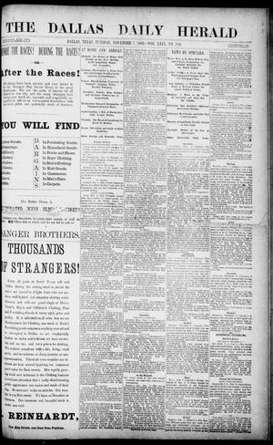 Primary view of object titled 'The Dallas Daily Herald. (Dallas, Tex.), Vol. 29, No. 300, Ed. 1 Tuesday, November 7, 1882'.