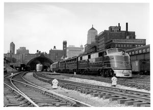 Primary view of object titled '[Trains leaving Grand Central Station in Chicago]'.