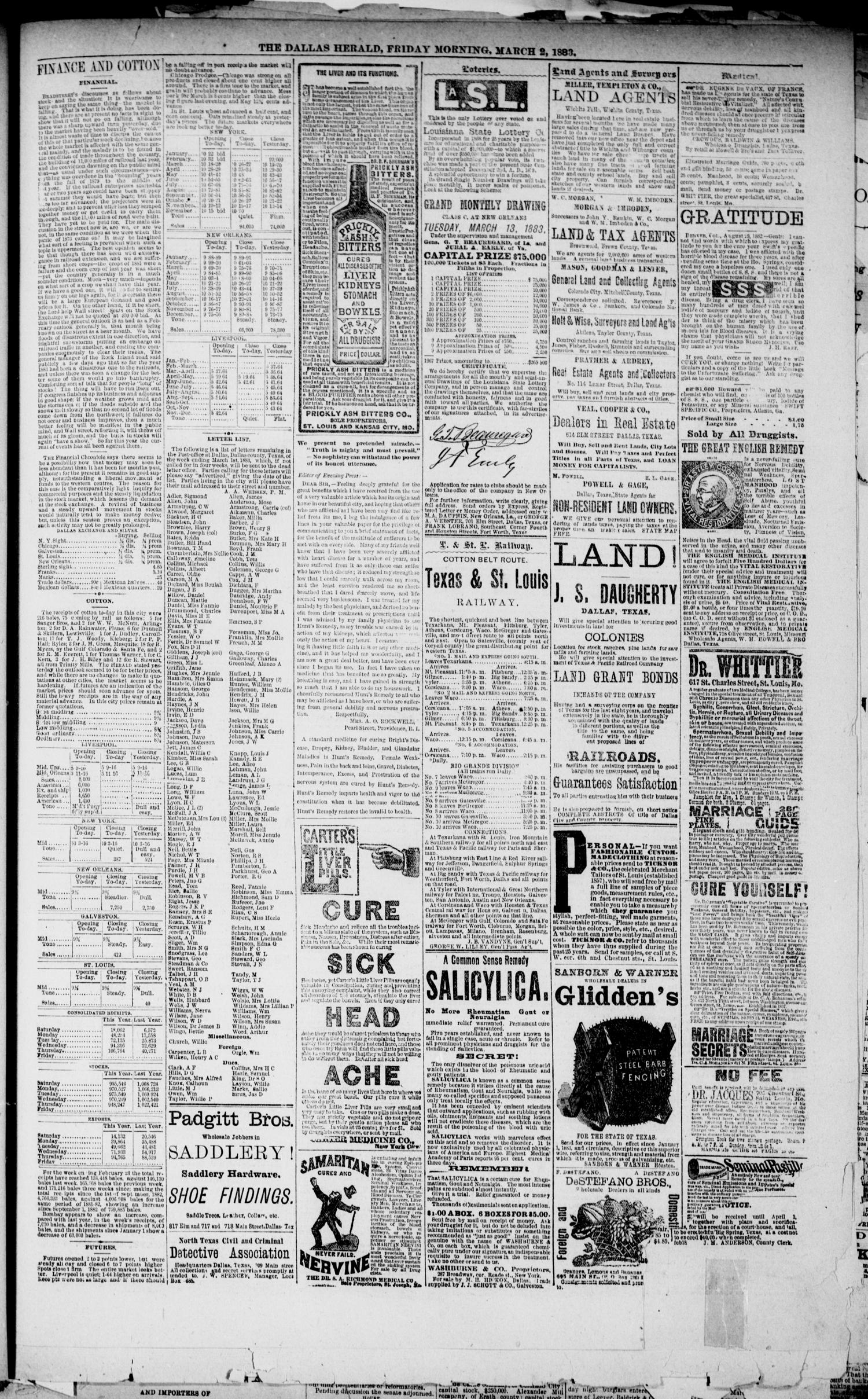 The Dallas Daily Herald. (Dallas, Tex.), Vol. 30, No. 87, Ed. 1 Friday, March 2, 1883                                                                                                      [Sequence #]: 3 of 8