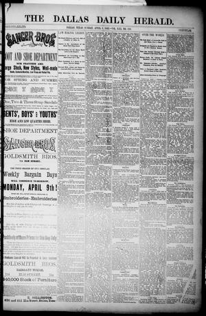 Primary view of object titled 'The Dallas Daily Herald. (Dallas, Tex.), Vol. 30, No. 119, Ed. 1 Sunday, April 8, 1883'.