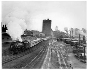 Primary view of object titled '[Passenger train leaving Chicago]'.