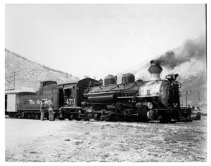 Primary view of object titled '[Steam locomotive in Durango, Colorado]'.