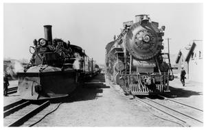 Primary view of object titled '[Two trains in Alamosa, Colorado]'.