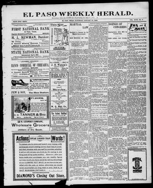 Primary view of object titled 'El Paso Weekly Herald. (El Paso, Tex.), Vol. 18, No. 12, Ed. 1 Saturday, January 15, 1898'.