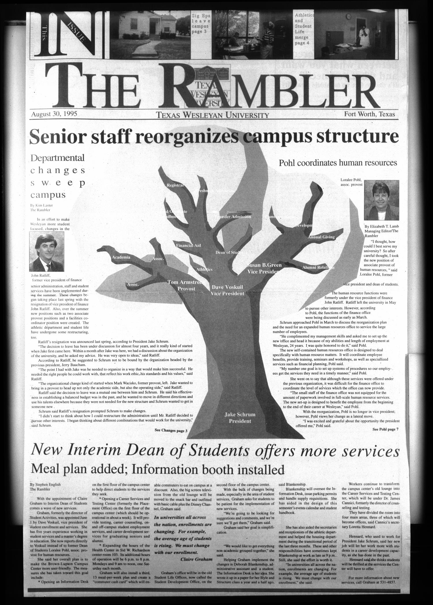 The Rambler (Fort Worth, Tex.), Ed. 1 Wednesday, August 30, 1995                                                                                                      [Sequence #]: 1 of 10