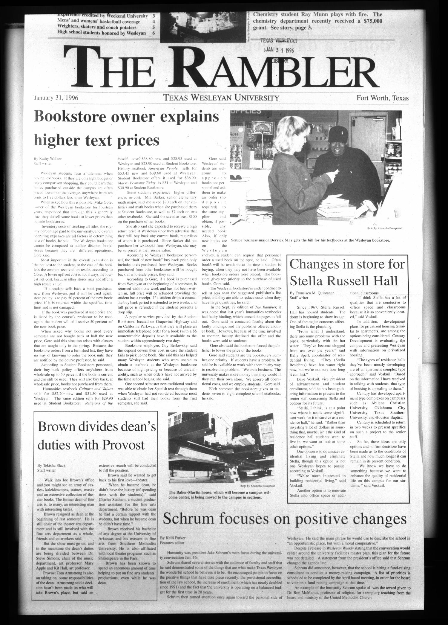The Rambler (Fort Worth, Tex.), Ed. 1 Wednesday, January 31, 1996                                                                                                      [Sequence #]: 1 of 6