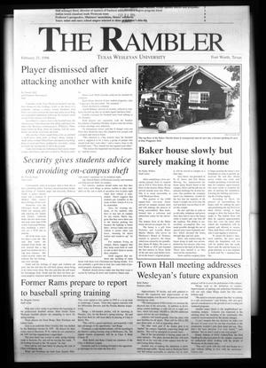 Primary view of object titled 'The Rambler (Fort Worth, Tex.), Ed. 1 Wednesday, February 21, 1996'.