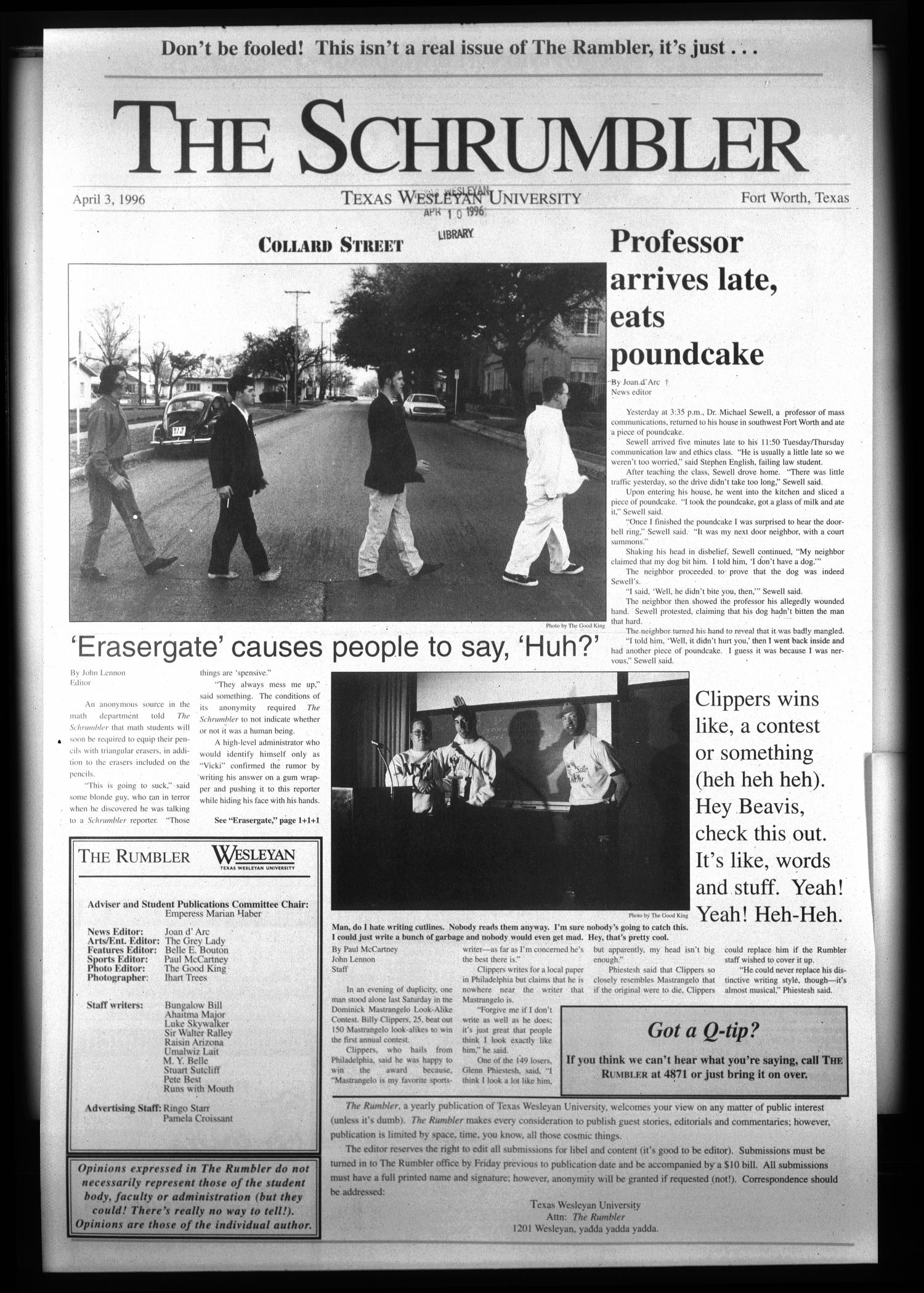 The Rambler (Fort Worth, Tex.), Ed. 1 Wednesday, April 3, 1996                                                                                                      [Sequence #]: 1 of 4