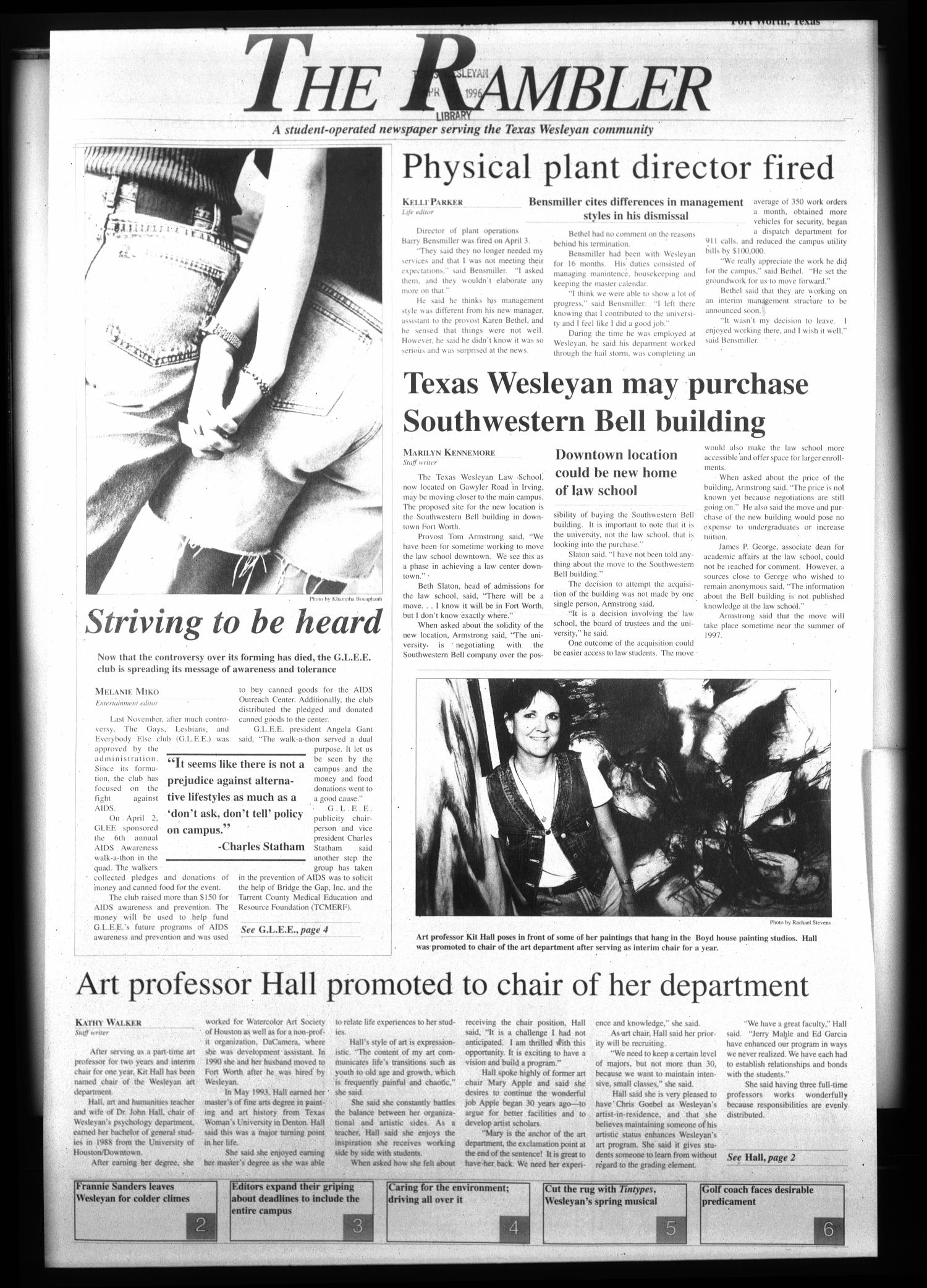 The Rambler (Fort Worth, Tex.), Ed. 1 Wednesday, April 17, 1996                                                                                                      [Sequence #]: 1 of 6