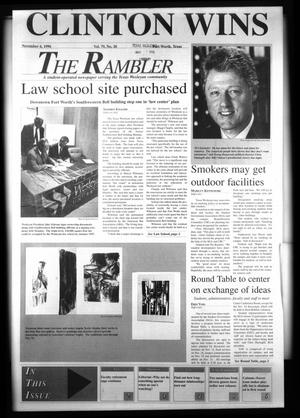 Primary view of object titled 'The Rambler (Fort Worth, Tex.), Vol. 79, No. 20, Ed. 1 Wednesday, November 6, 1996'.
