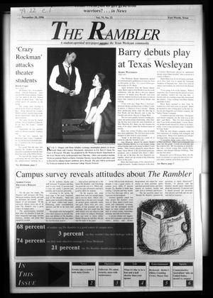 Primary view of object titled 'The Rambler (Fort Worth, Tex.), Vol. 79, No. 22, Ed. 1 Wednesday, November 20, 1996'.