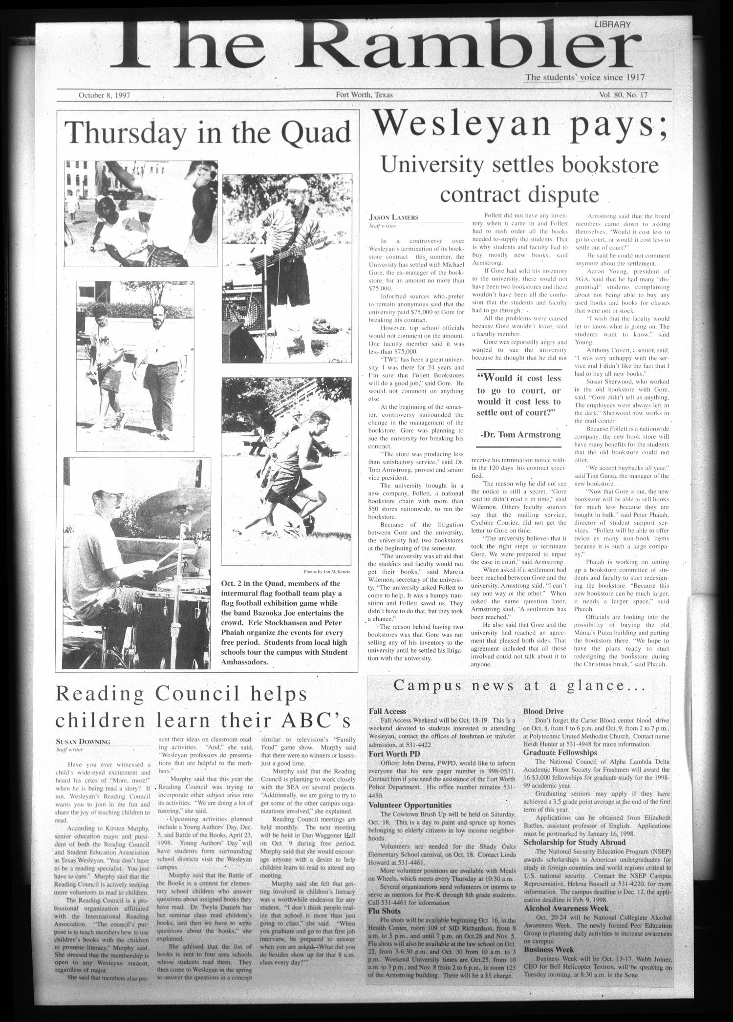 The Rambler (Fort Worth, Tex.), Vol. 80, No. 17, Ed. 1 Wednesday, October 8, 1997                                                                                                      [Sequence #]: 1 of 4