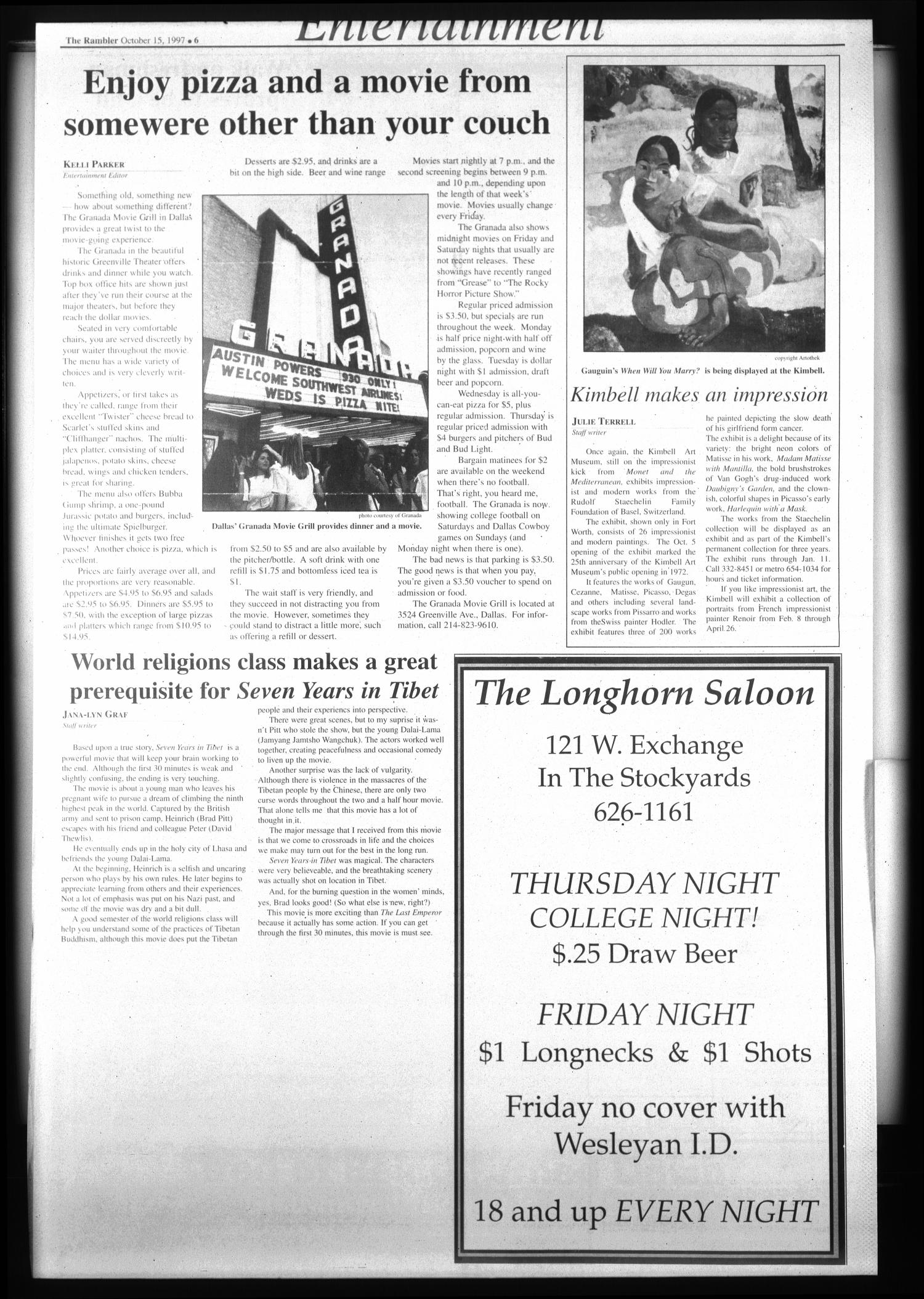 The Rambler (Fort Worth, Tex.), Vol. 80, No. 18, Ed. 1 Wednesday, October 15, 1997                                                                                                      [Sequence #]: 6 of 6