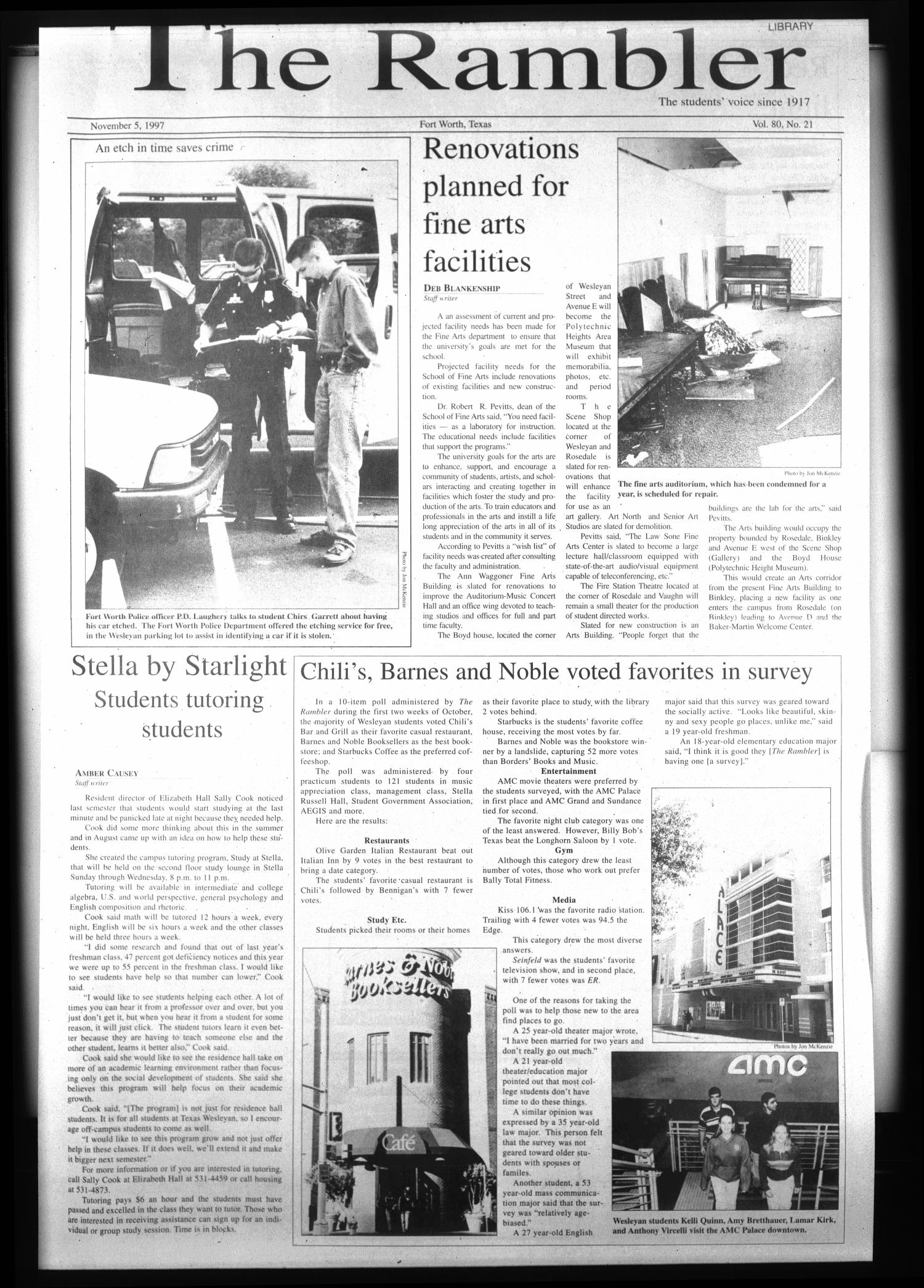 The Rambler (Fort Worth, Tex.), Vol. 80, No. 21, Ed. 1 Wednesday, November 5, 1997                                                                                                      [Sequence #]: 1 of 6