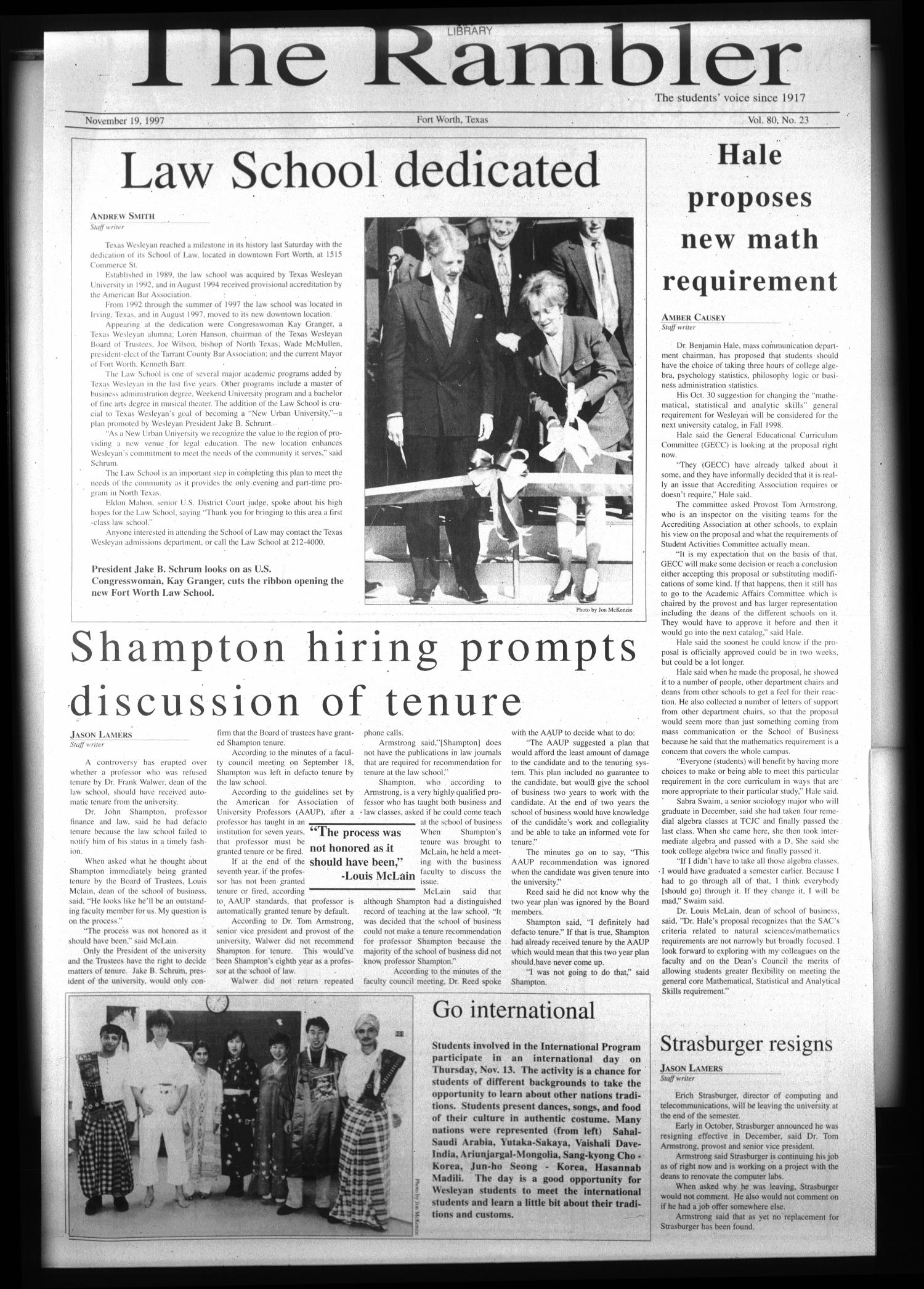 The Rambler (Fort Worth, Tex.), Vol. 80, No. 23, Ed. 1 Wednesday, November 19, 1997                                                                                                      [Sequence #]: 1 of 6