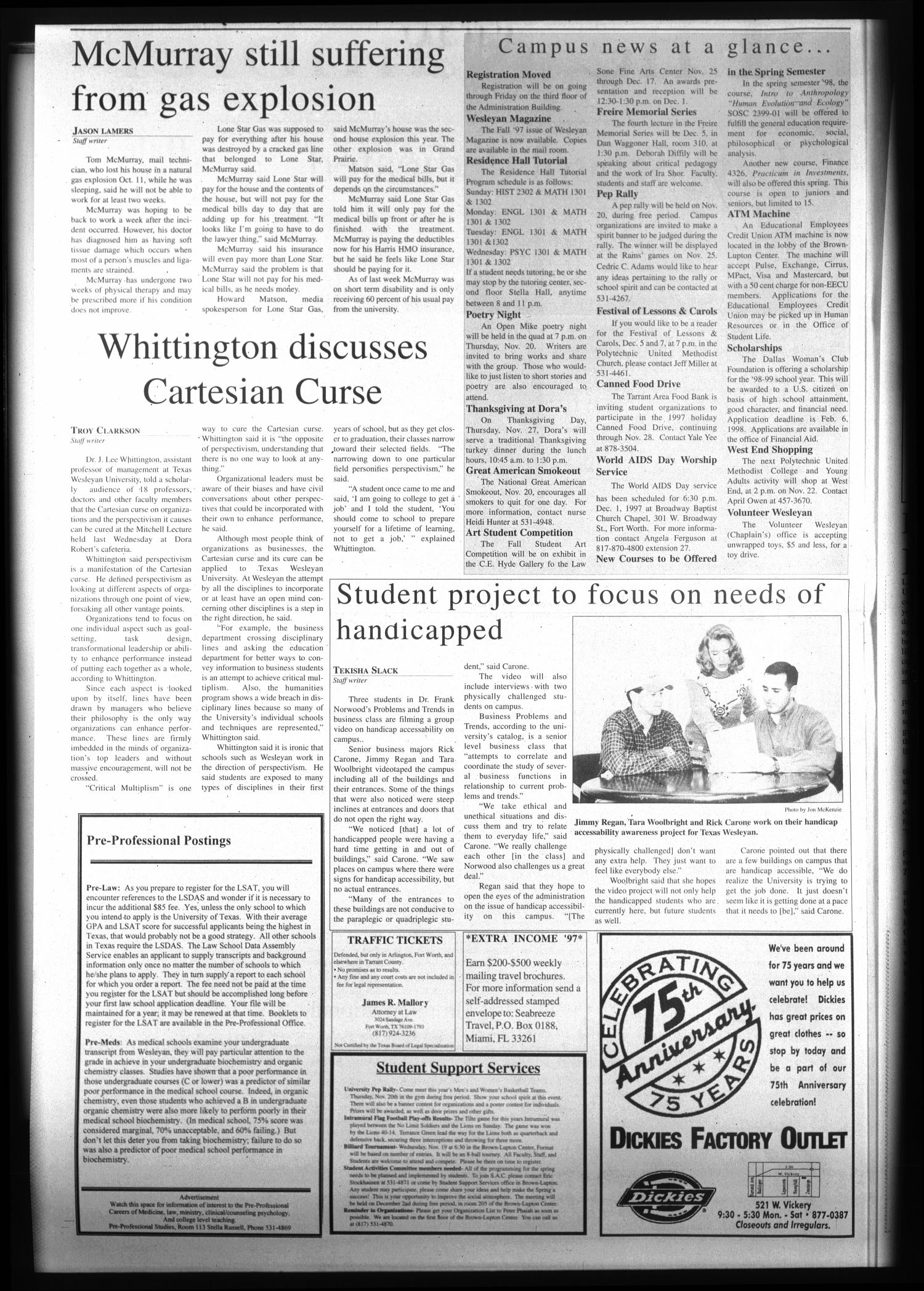 The Rambler (Fort Worth, Tex.), Vol. 80, No. 23, Ed. 1 Wednesday, November 19, 1997                                                                                                      [Sequence #]: 2 of 6