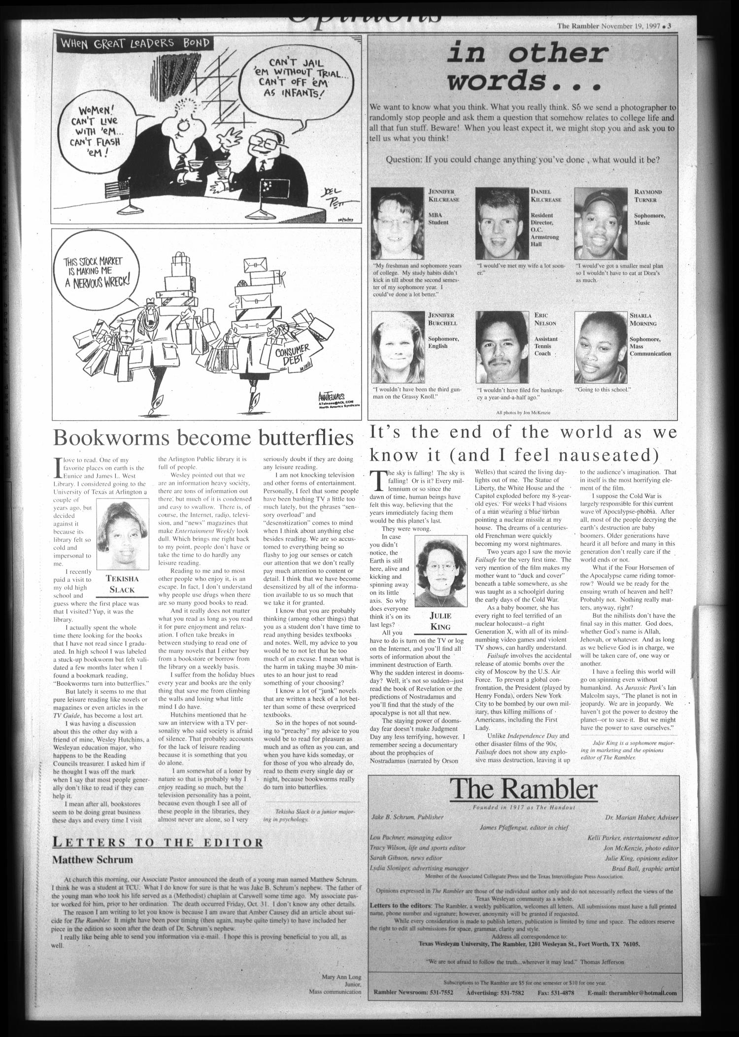 The Rambler (Fort Worth, Tex.), Vol. 80, No. 23, Ed. 1 Wednesday, November 19, 1997                                                                                                      [Sequence #]: 3 of 6
