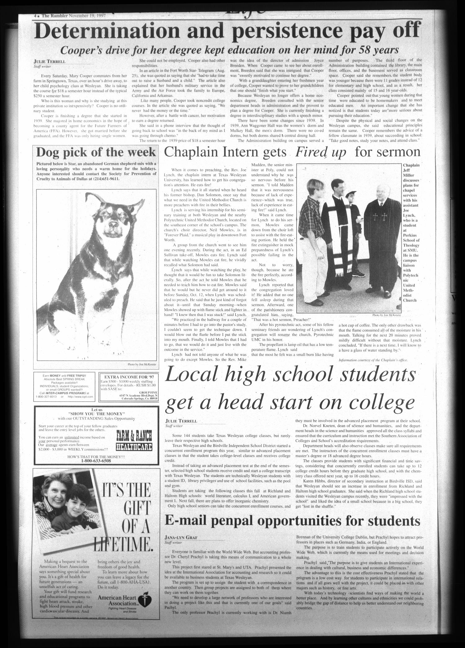 The Rambler (Fort Worth, Tex.), Vol. 80, No. 23, Ed. 1 Wednesday, November 19, 1997                                                                                                      [Sequence #]: 4 of 6
