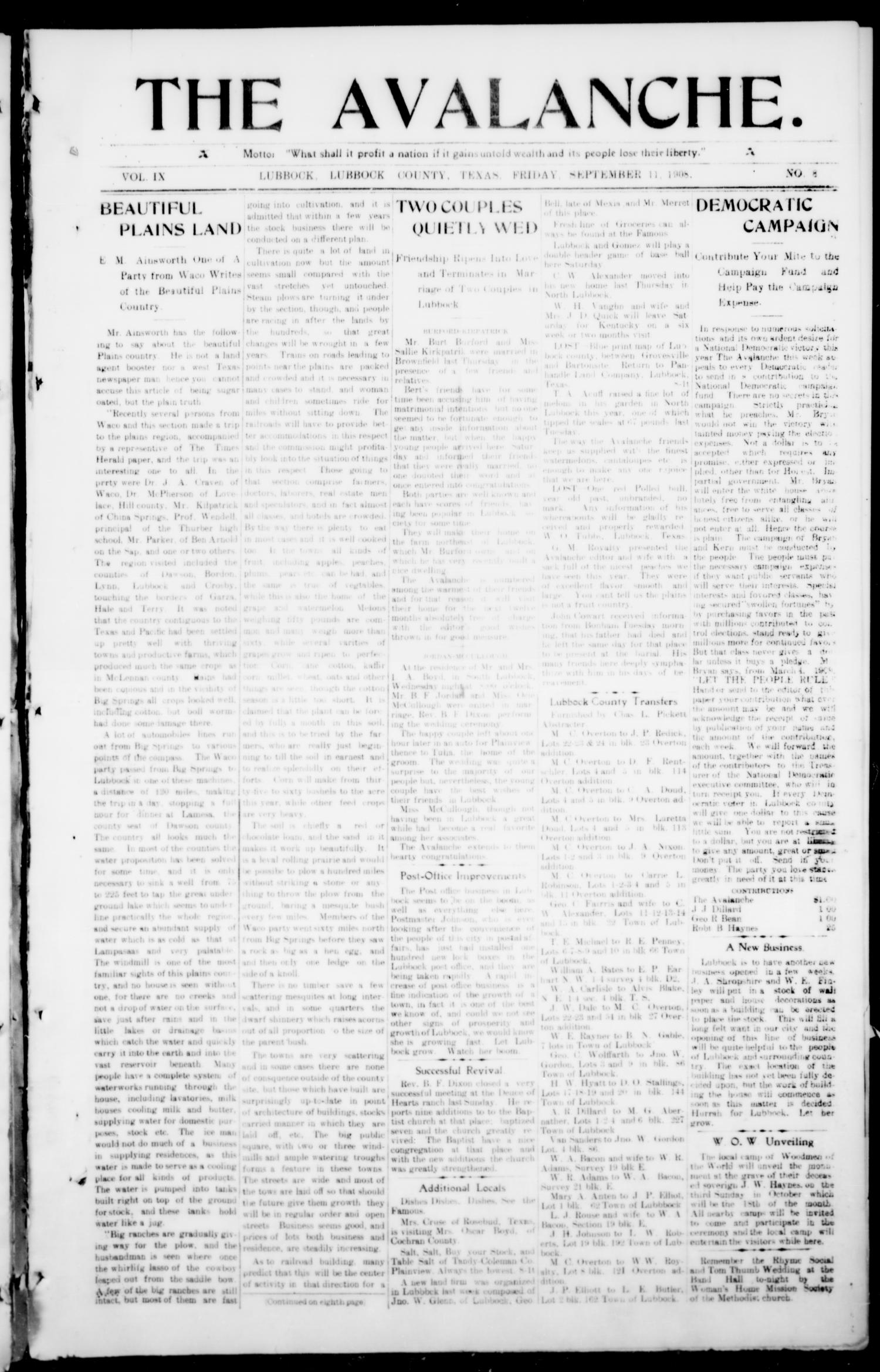 The Avalanche. (Lubbock, Texas), Vol. 9, No. 8, Ed. 1 Friday, September 11, 1908                                                                                                      [Sequence #]: 1 of 8