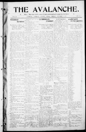 The Avalanche. (Lubbock, Texas), Vol. 9, No. 12, Ed. 1 Friday, October 9, 1908