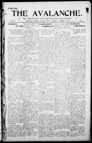 The Avalanche. (Lubbock, Texas), Vol. 9, No. 14, Ed. 1 Friday, October 23, 1908