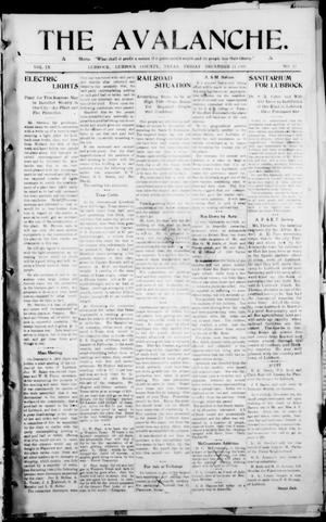The Avalanche. (Lubbock, Texas), Vol. 9, No. 21, Ed. 1 Friday, December 11, 1908