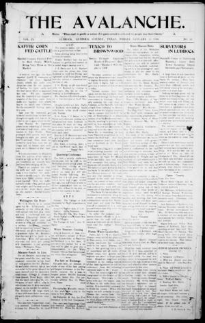 The Avalanche. (Lubbock, Texas), Vol. 9, No. 26, Ed. 1 Friday, January 15, 1909