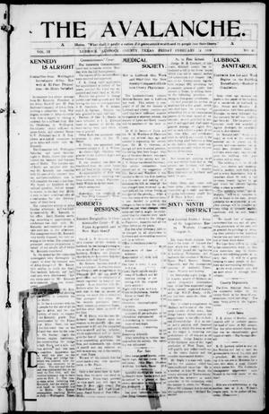The Avalanche. (Lubbock, Texas), Vol. 9, No. 30, Ed. 1 Friday, February 12, 1909
