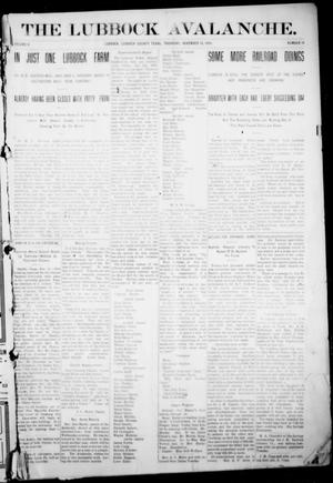 The Lubbock Avalanche. (Lubbock, Texas), Vol. 10, No. 19, Ed. 1 Thursday, November 18, 1909