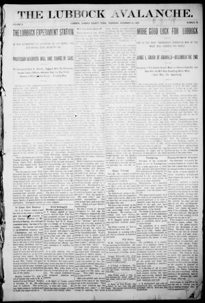 The Lubbock Avalanche. (Lubbock, Texas), Vol. 10, No. 20, Ed. 1 Thursday, November 25, 1909