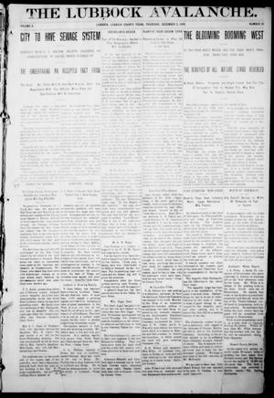 The Lubbock Avalanche. (Lubbock, Texas), Vol. 10, No. 21, Ed. 1 Thursday, December 2, 1909