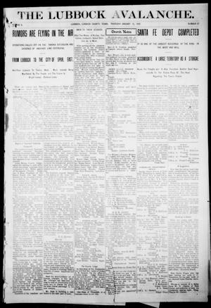 Primary view of object titled 'The Lubbock Avalanche. (Lubbock, Texas), Vol. 10, No. 27, Ed. 1 Thursday, January 13, 1910'.