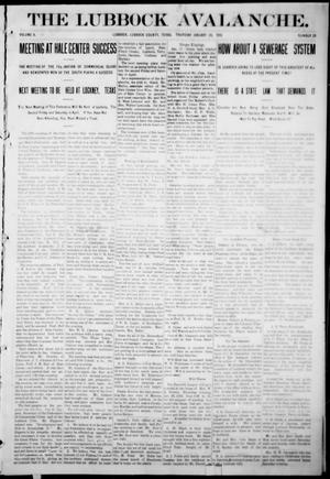 The Lubbock Avalanche. (Lubbock, Texas), Vol. 10, No. 28, Ed. 1 Thursday, January 20, 1910