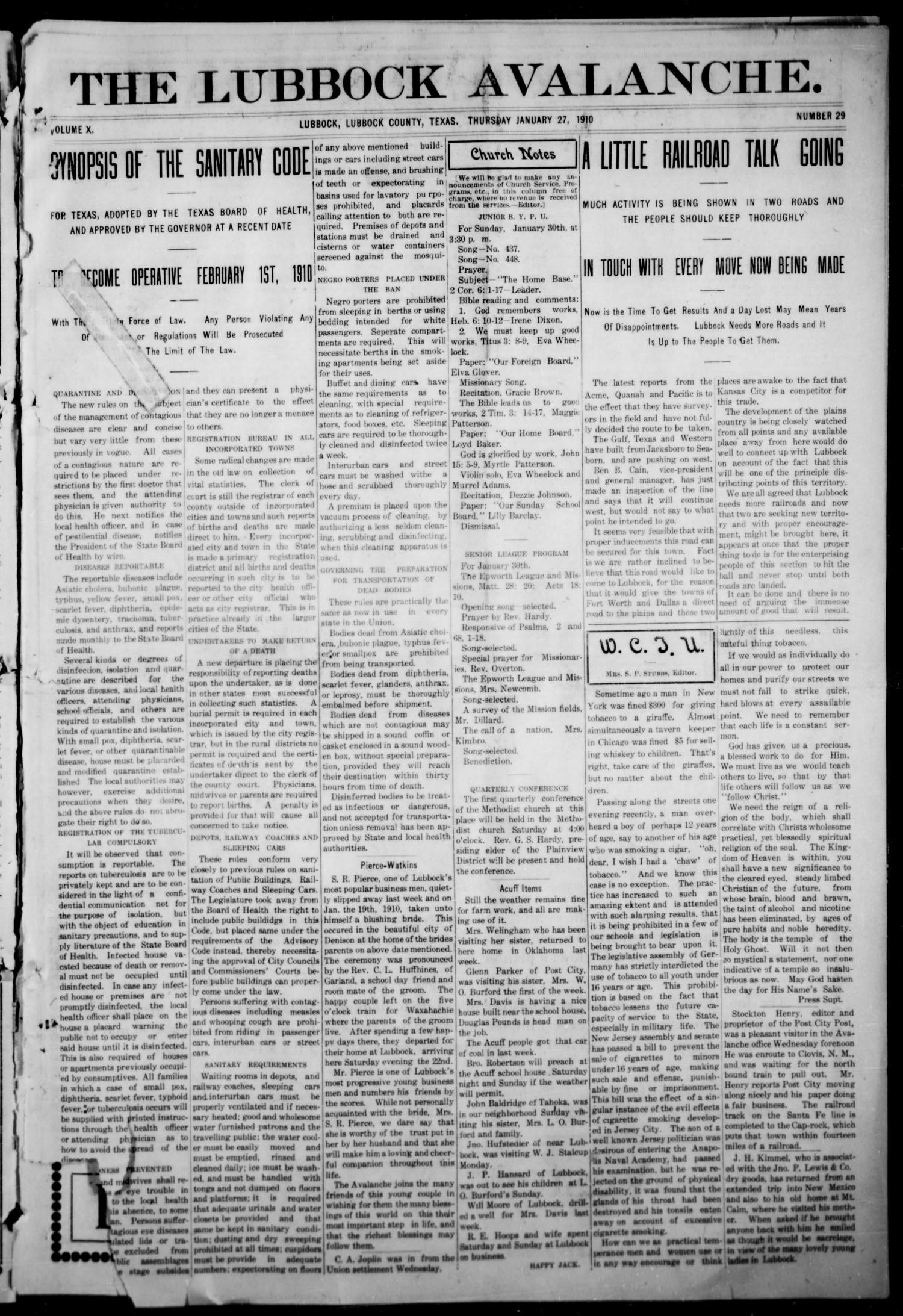 The lubbock avalanche lubbock texas vol 10 no 29 ed 1 the lubbock avalanche lubbock texas vol 10 no 29 ed 1 thursday january 27 1910 page 1 of 16 the portal to texas history aiddatafo Gallery