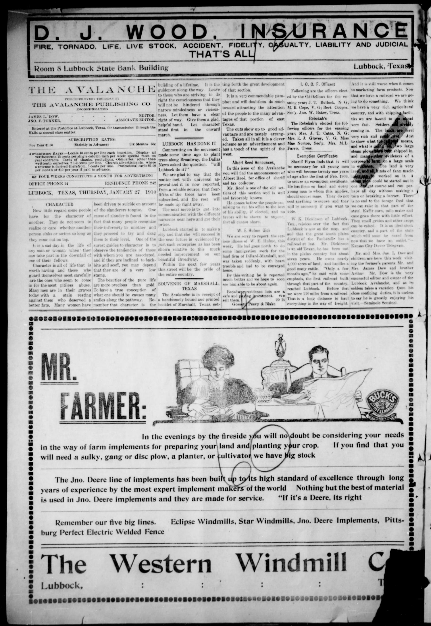 The Lubbock Avalanche. (Lubbock, Texas), Vol. 10, No. 29, Ed. 1 Thursday, January 27, 1910                                                                                                      [Sequence #]: 2 of 16