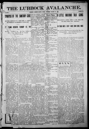 The Lubbock Avalanche. (Lubbock, Texas), Vol. 10, No. 29, Ed. 1 Thursday, January 27, 1910